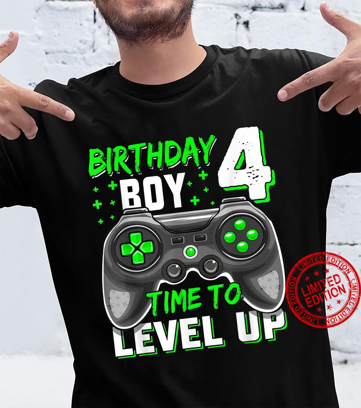 4th Birthday Boy Four Years Old Level 4 Unlocked Video Gamer Shirt