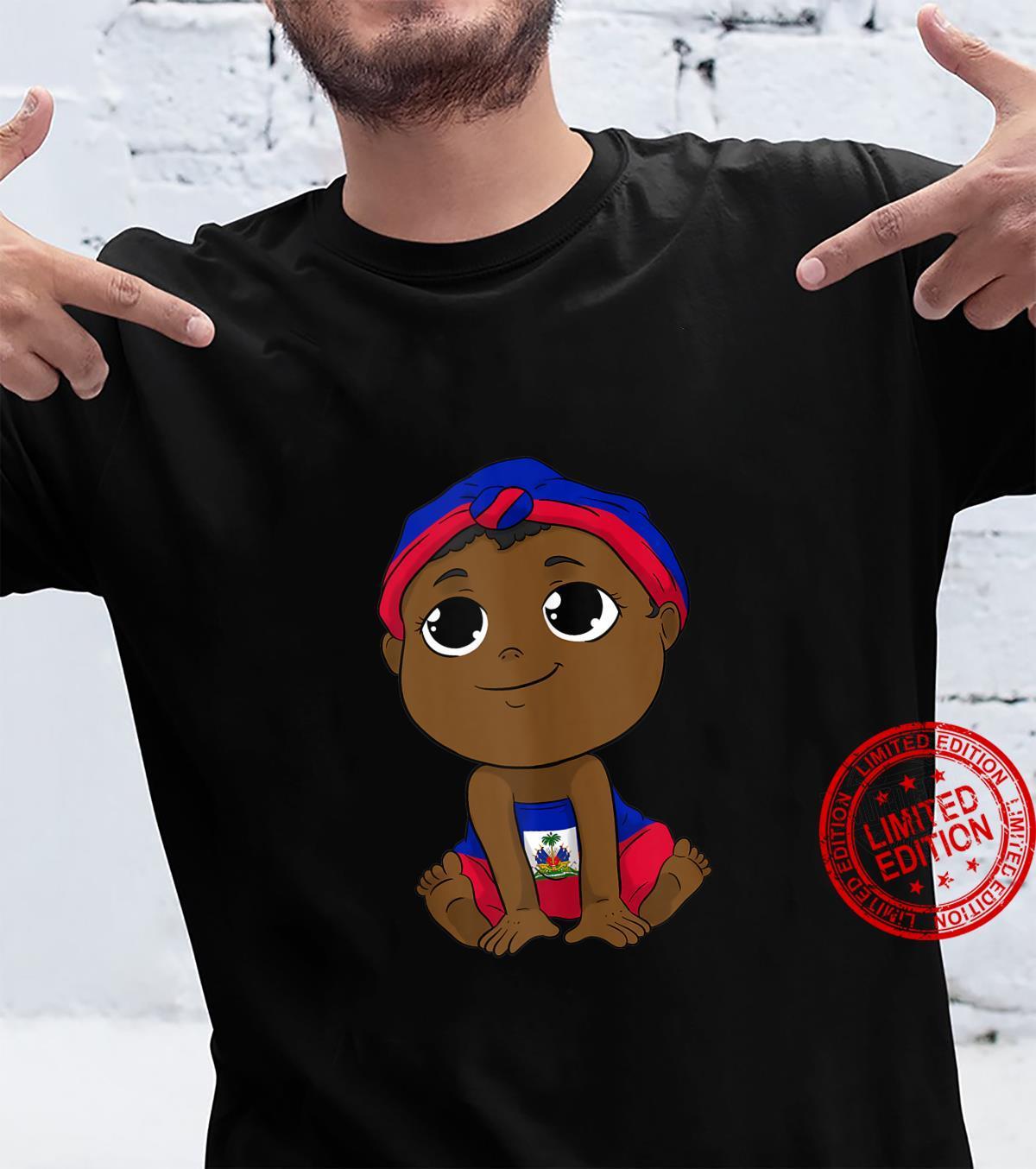 Haiti Haitian Love Flag Proud Big Eyes Kid Headscarf Bandana Shirt