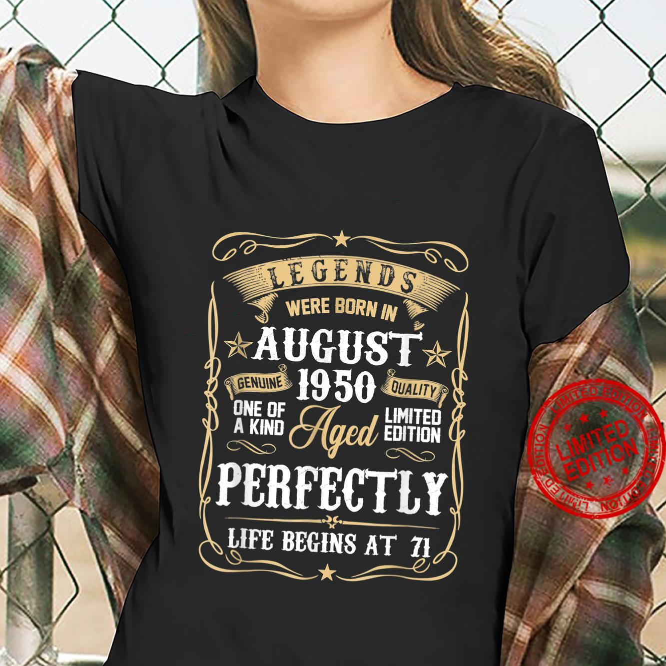 Legends Were Born In August 1950 71st Bday 71 Years Old Shirt ladies tee