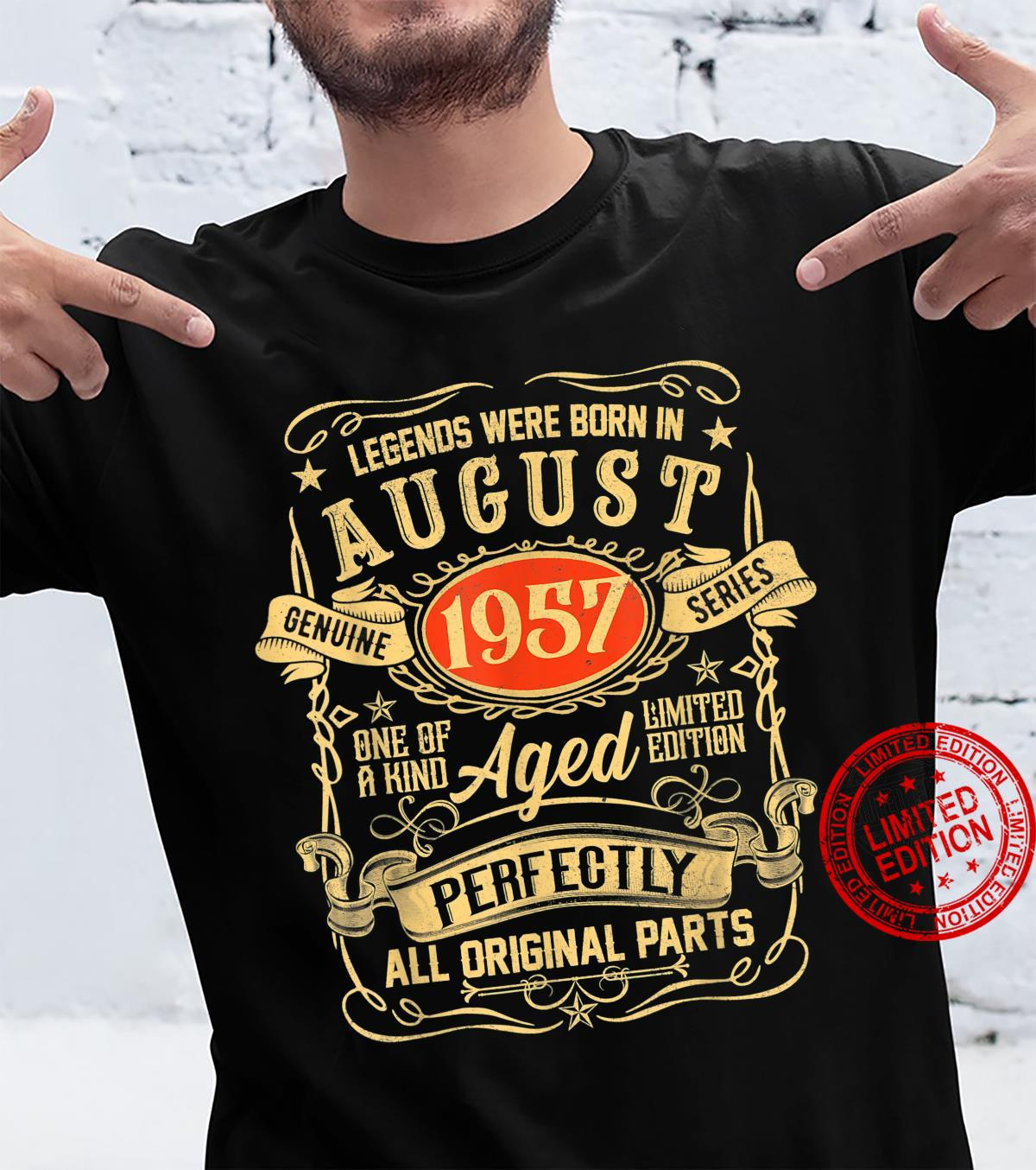 Legends Were Born In August 1957 64th Birthday 64 Year Old Shirt