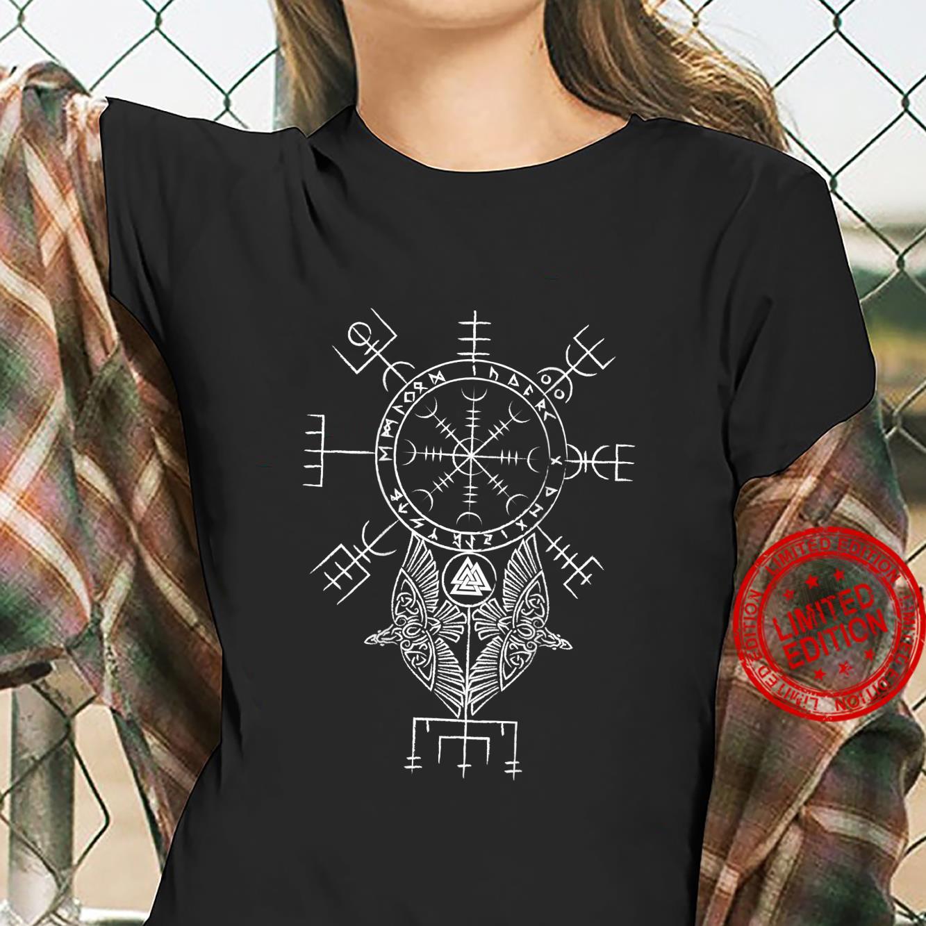 Mens Ancient Norse Mythology Viking Symbols on back Shirt ladies tee