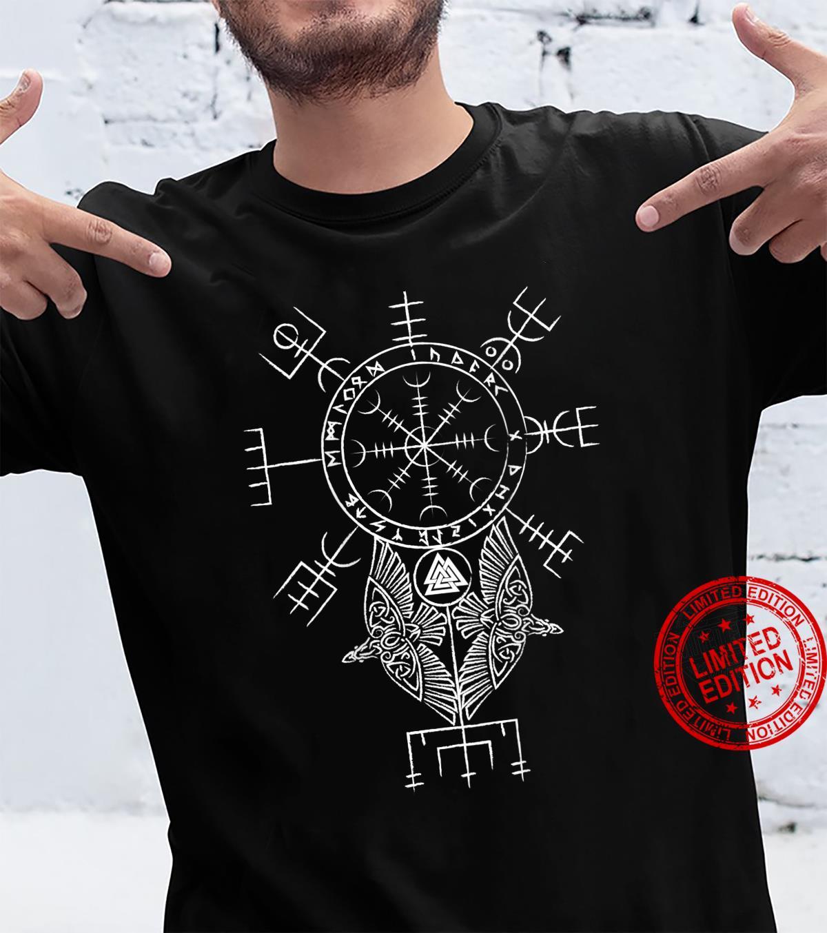 Mens Ancient Norse Mythology Viking Symbols on back Shirt