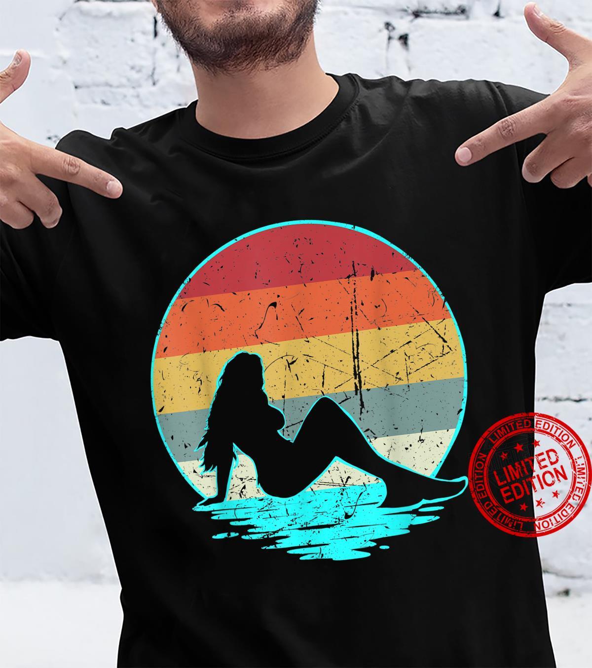 Mermaid Retro Silhouette 70s 80s Ocean Vintage Sunset Shirt