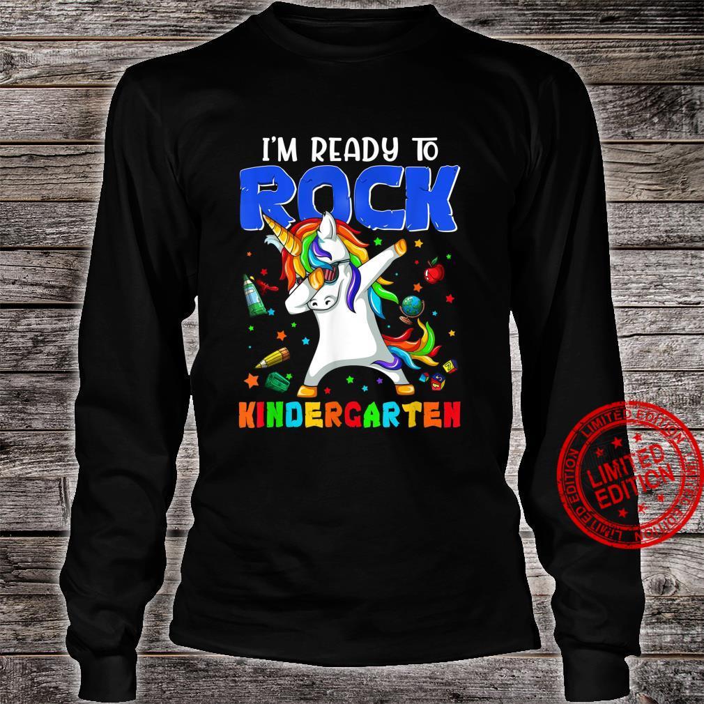 Rock Kindergarten Dabbing Unicorn Girls Back To School Shirt long sleeved