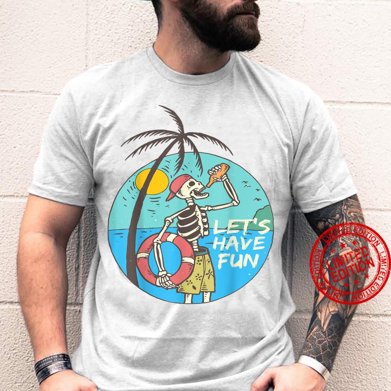 Surfer Skeleton With A Summer Drink Shirt