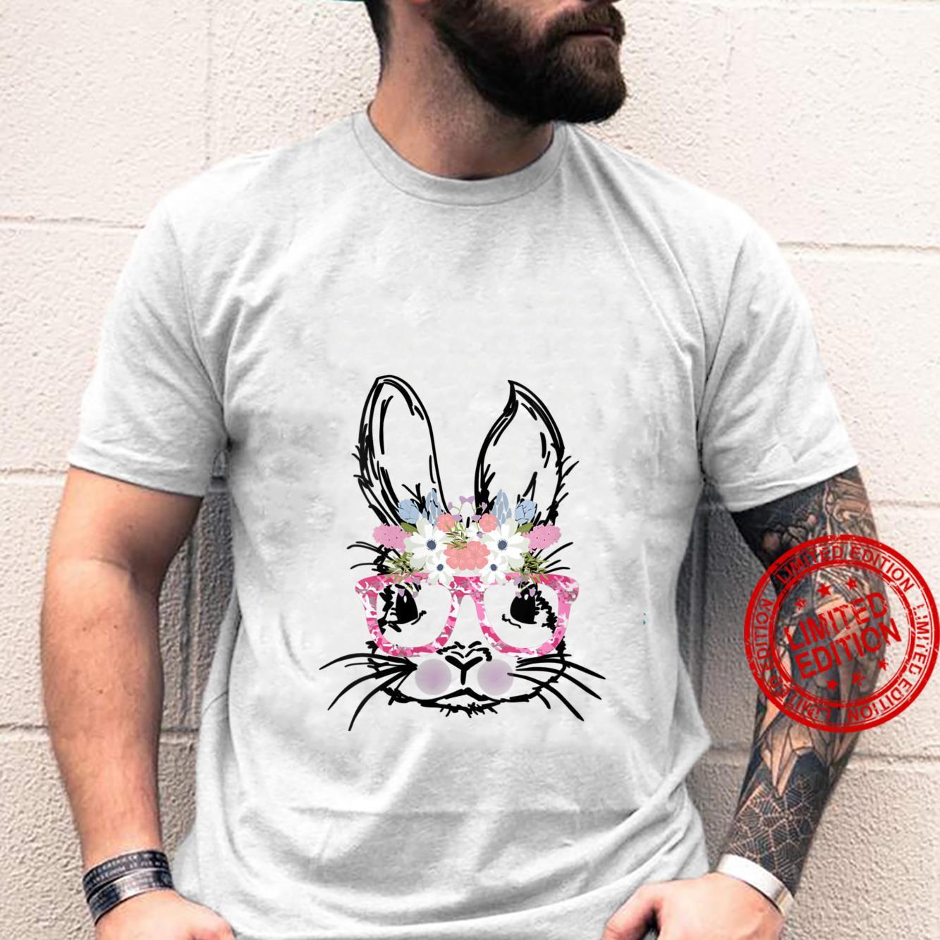 Womens Cute Bunny Face Shirt Pink Camo Glasses Flowers EASTER Shirt