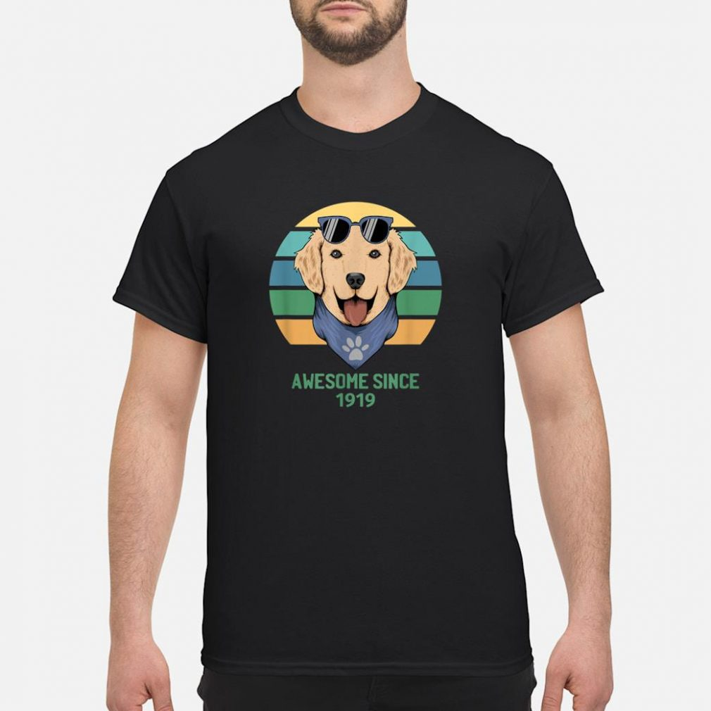 100th Birthday Gift Dog With Sunglasses Awesome Since 1919 Shirt