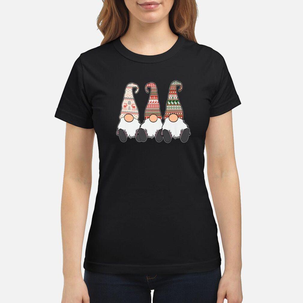 3 Nordic Gnomes Winter Christmas Swedish Tomte Cute Elves Shirt ladies tee