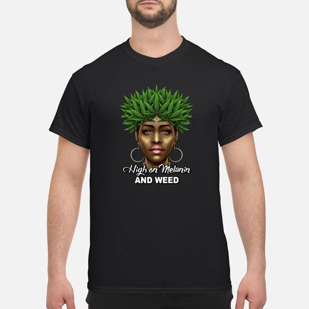 420 Black Queen Weed Pot Leaf High On Melanin Weed Cannabis Shirt