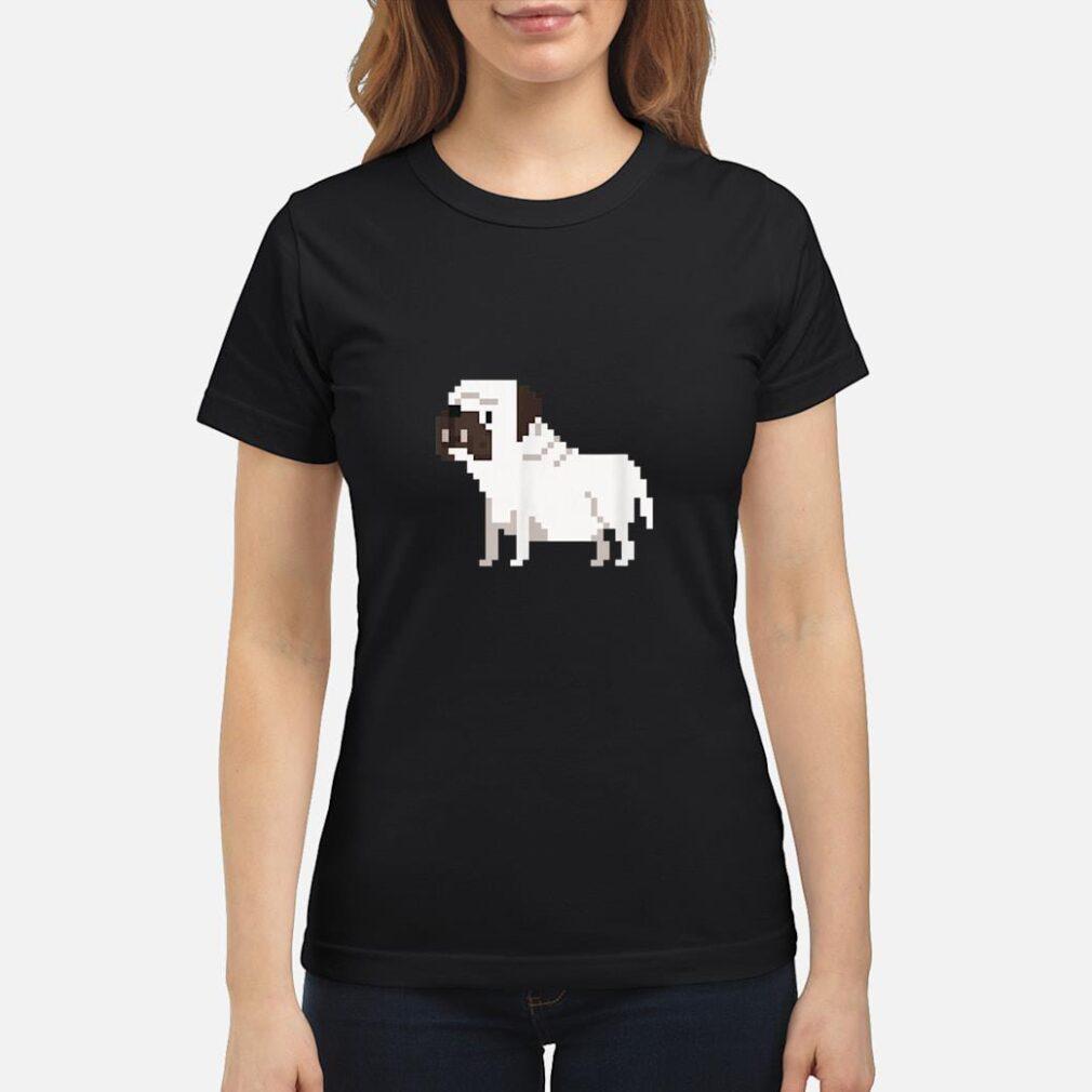 8bit Bulldog Dog Shirt ladies tee