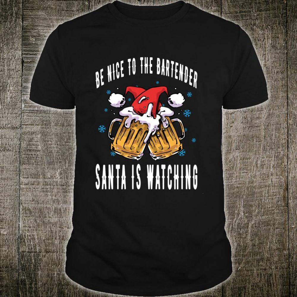 Bartending Christmas Santa Beer Bartender Shirt