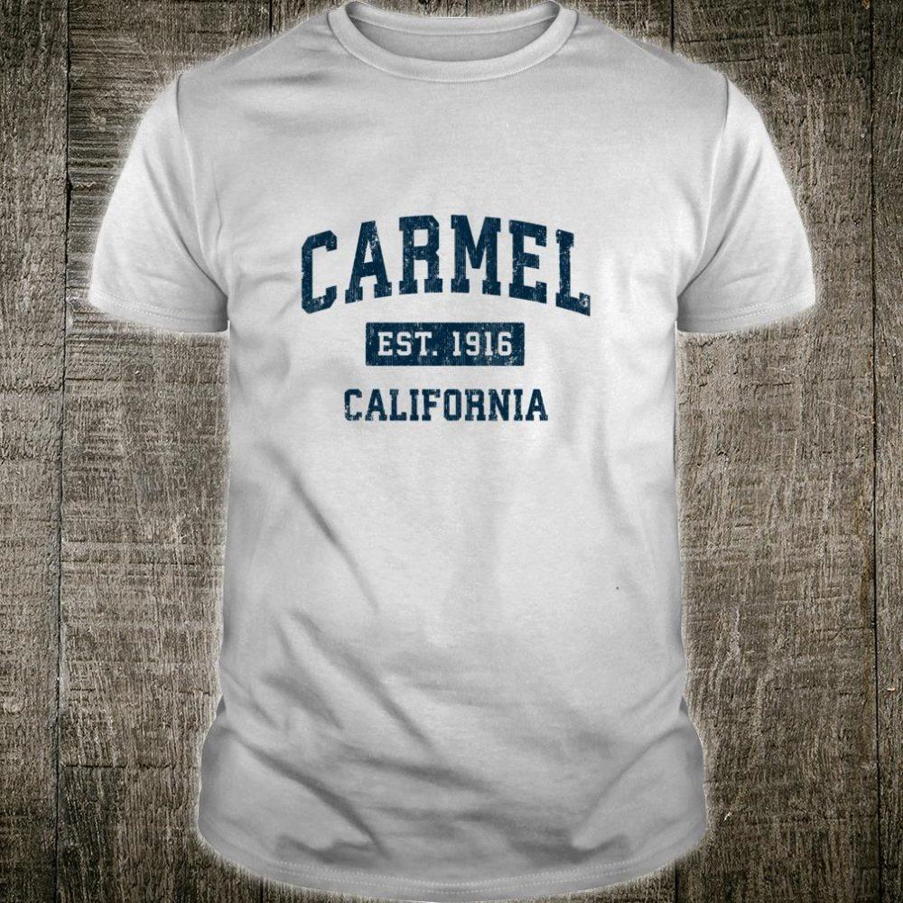 Carmel California CA Vintage Sports Design Navy Print Shirt