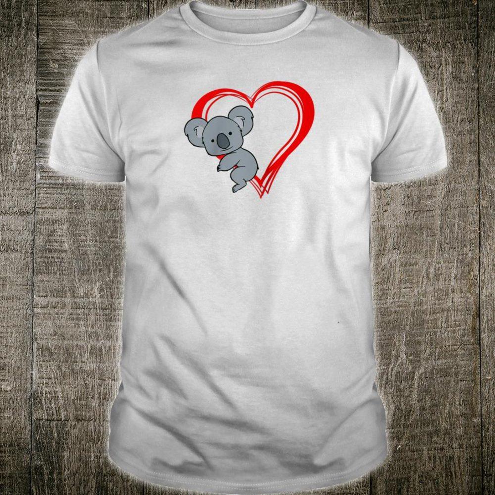 Cute Lovely Koala Bear Clings Red Hollow Heart Valentine Shirt