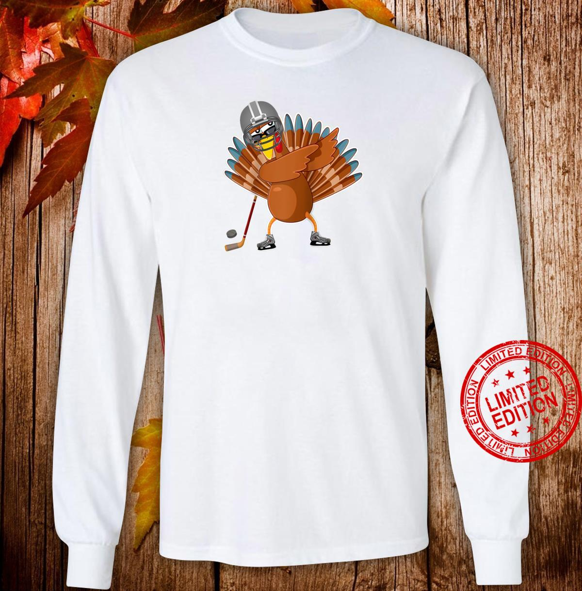 Dabbing turkey ice hockey player Thanksgiving Shirt long sleeved