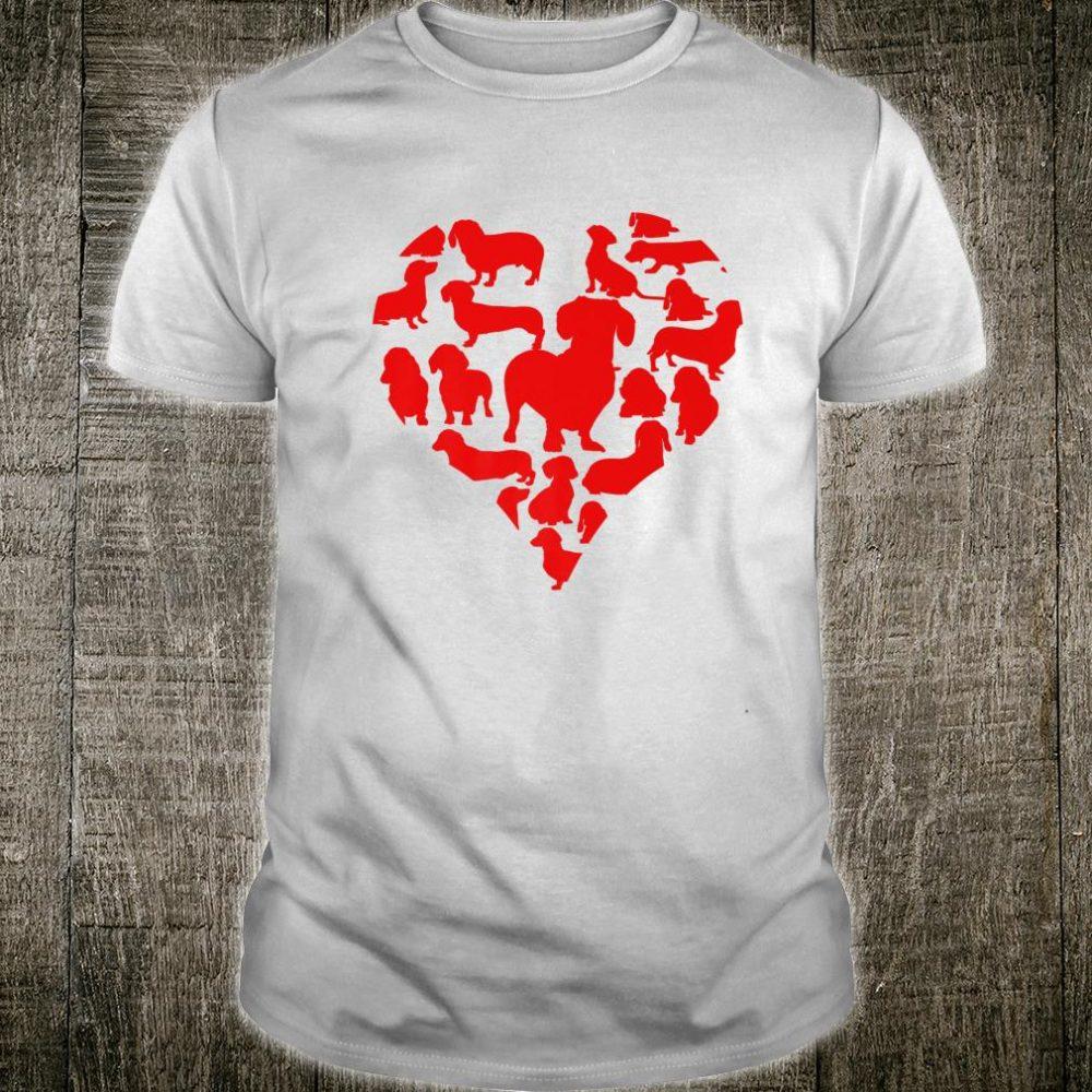 Dachshund Wiener Dog Heart Valentines Day Mom Dad Shirt