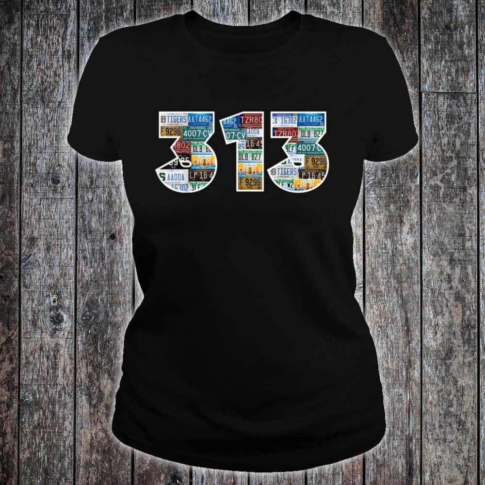 Detroit Michigan Area Code 313 License Plates Motor City Shirt ladies tee