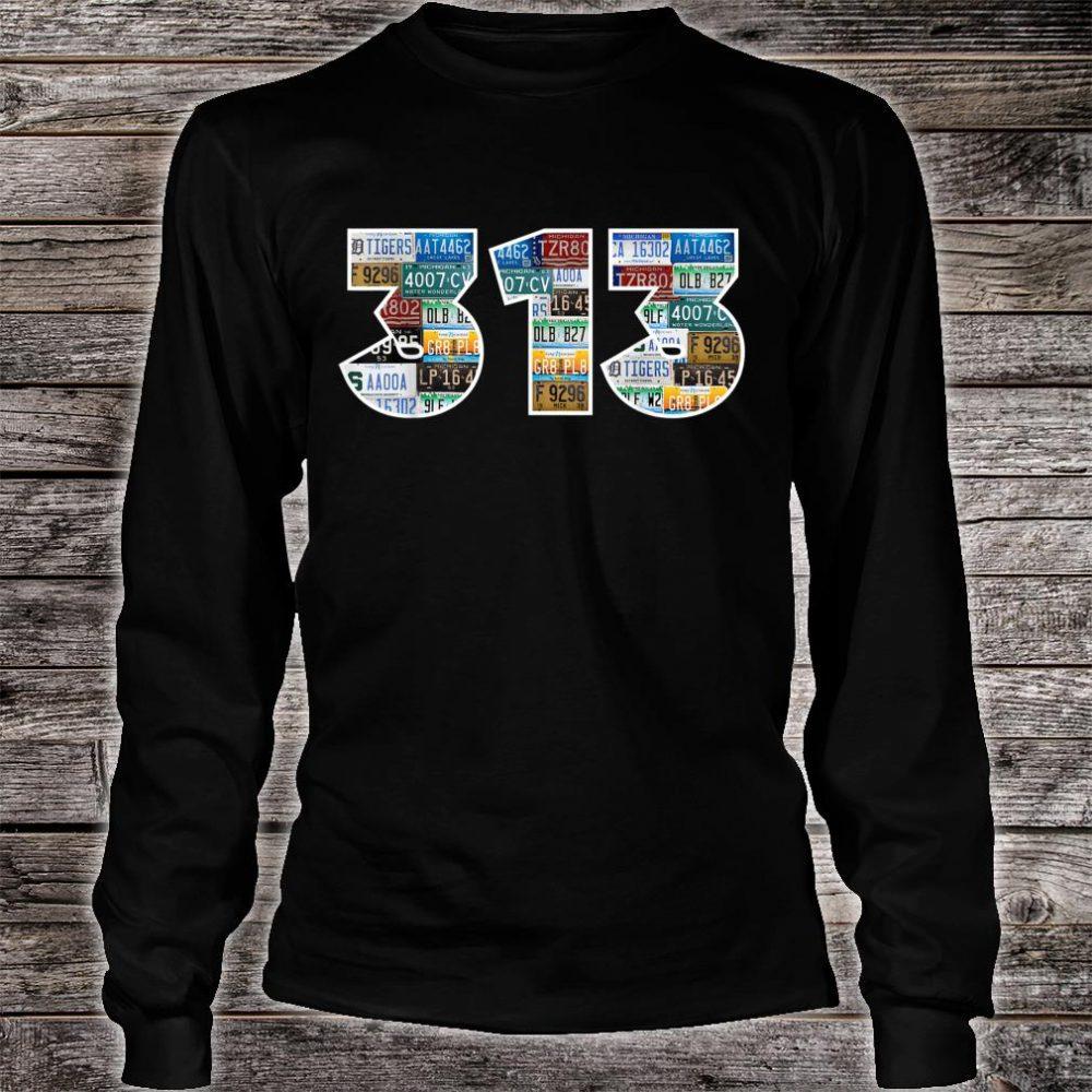 Detroit Michigan Area Code 313 License Plates Motor City Shirt long sleeved