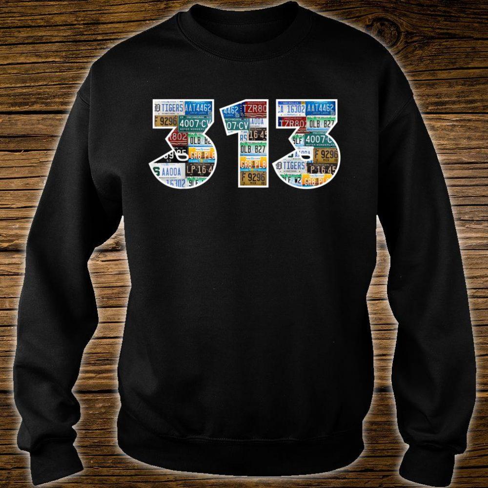 Detroit Michigan Area Code 313 License Plates Motor City Shirt sweater