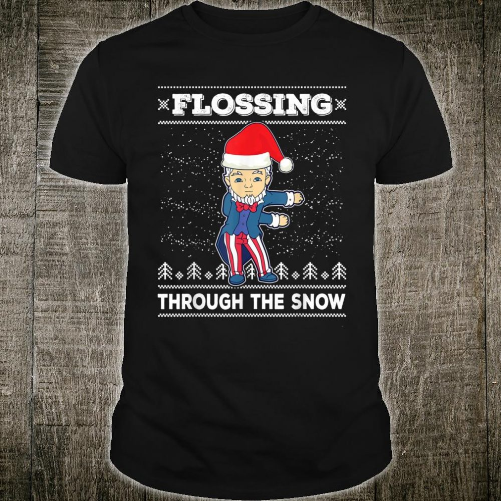 Flossing Through The Snow Uncle Sam Ugly Christmas Shirt