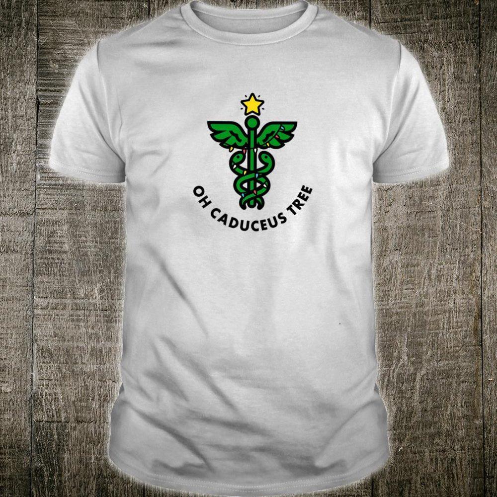 Funny Christmas medical doctor nurse RN Oh Caduceus Tree Shirt