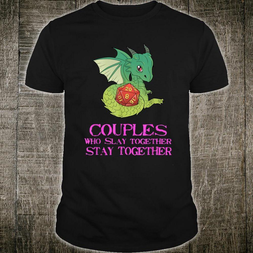 Funny Couples Tabletop Gaming Shirt Dragons D20 Dice Shirt