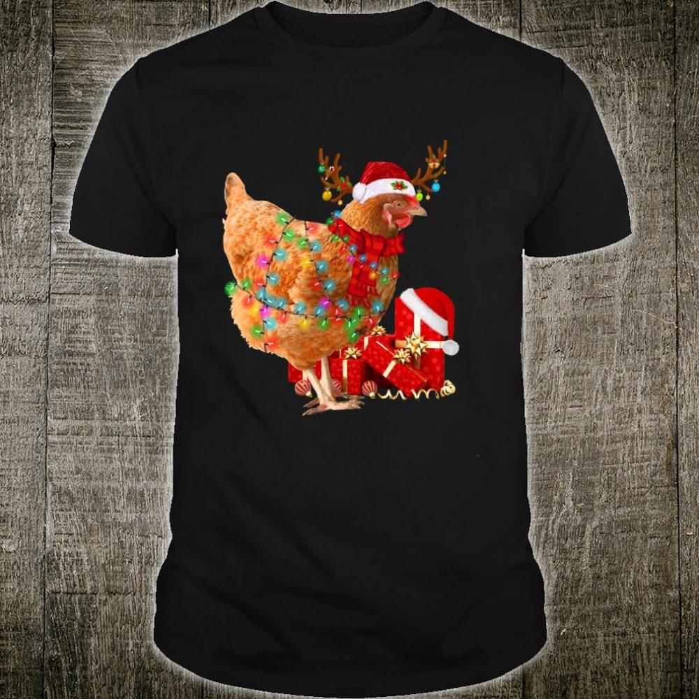 Funny Santa Reindeer Chicken Christmas Lights Xmas Shirt