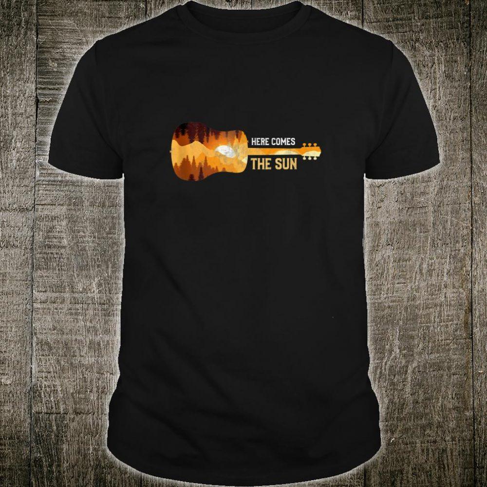 Here Comes The Sun Guitar Shadow Sunset Rock Music Guitar Shirt