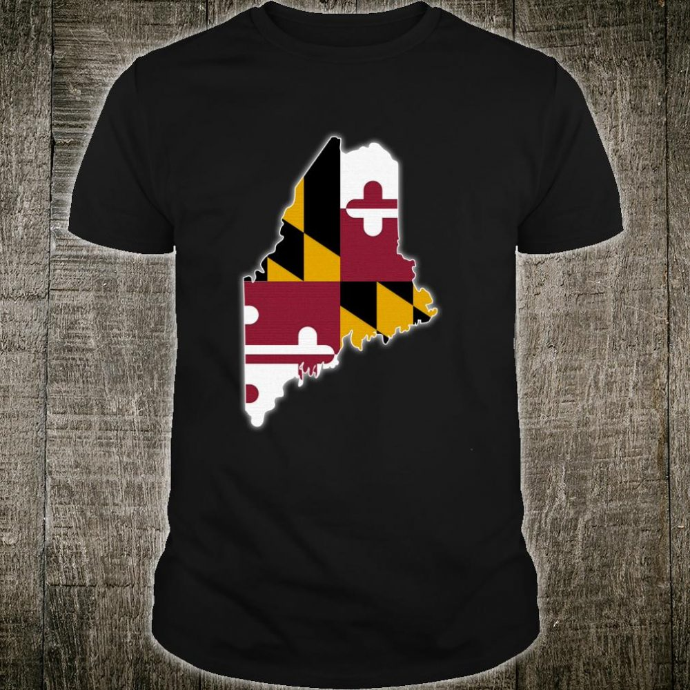 MAINE STATE MAP MARYLAND MD Flag Roots Shirt