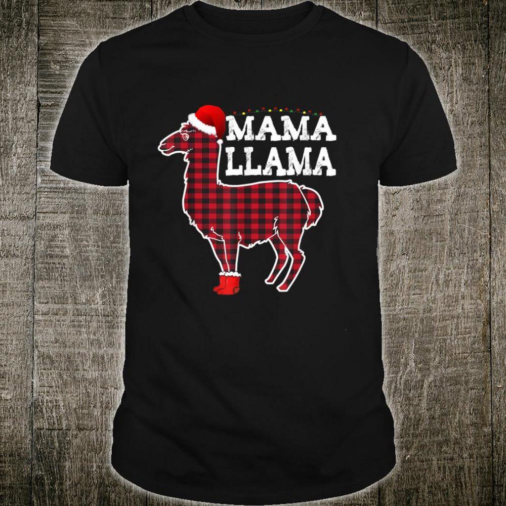 Mama Llama Red Buffalo Plaid Santa Shoe Merry Xmas Mom Shirt