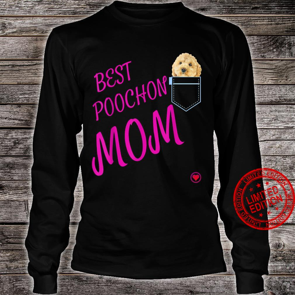 Poochon Mum in pocket Puppy Dog Cute Poodle cross Shirt long sleeved