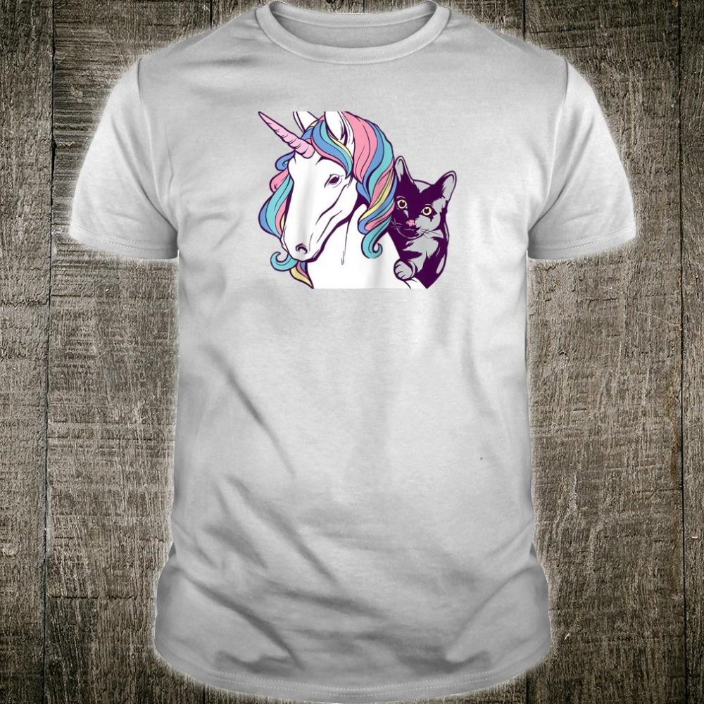 Retro Black Cat Riding Unicorn Cats & Unicorns Shirt