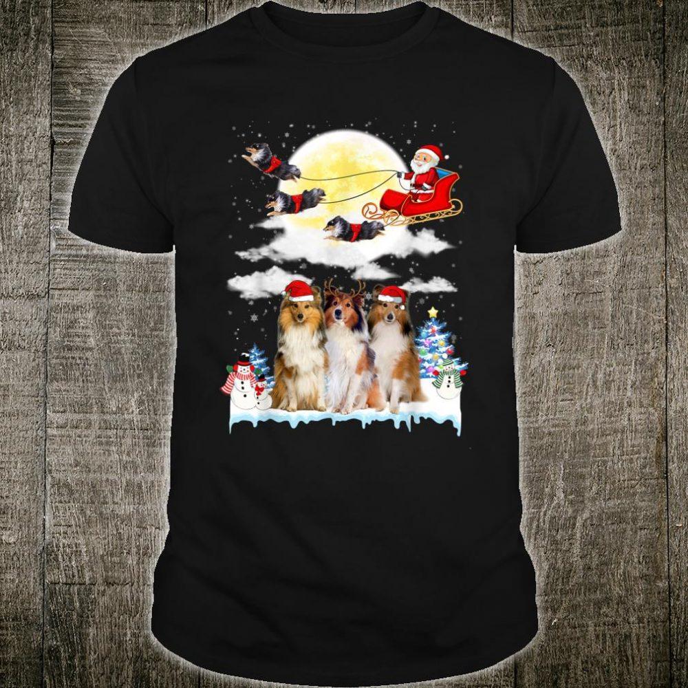 Shetland Sheepdog Dog Santa Sleigh Christmas Shirt