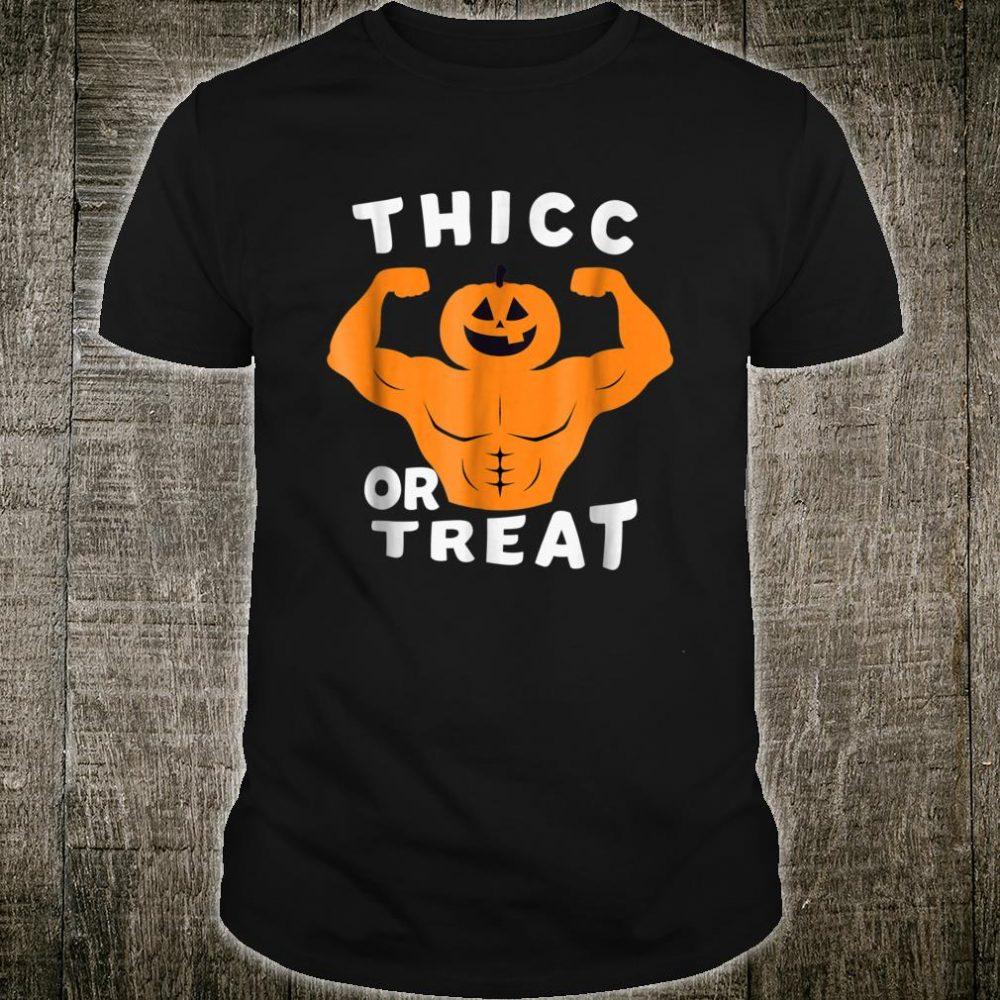 Thicc Or Treat halloween muscule pumpkin Shirt