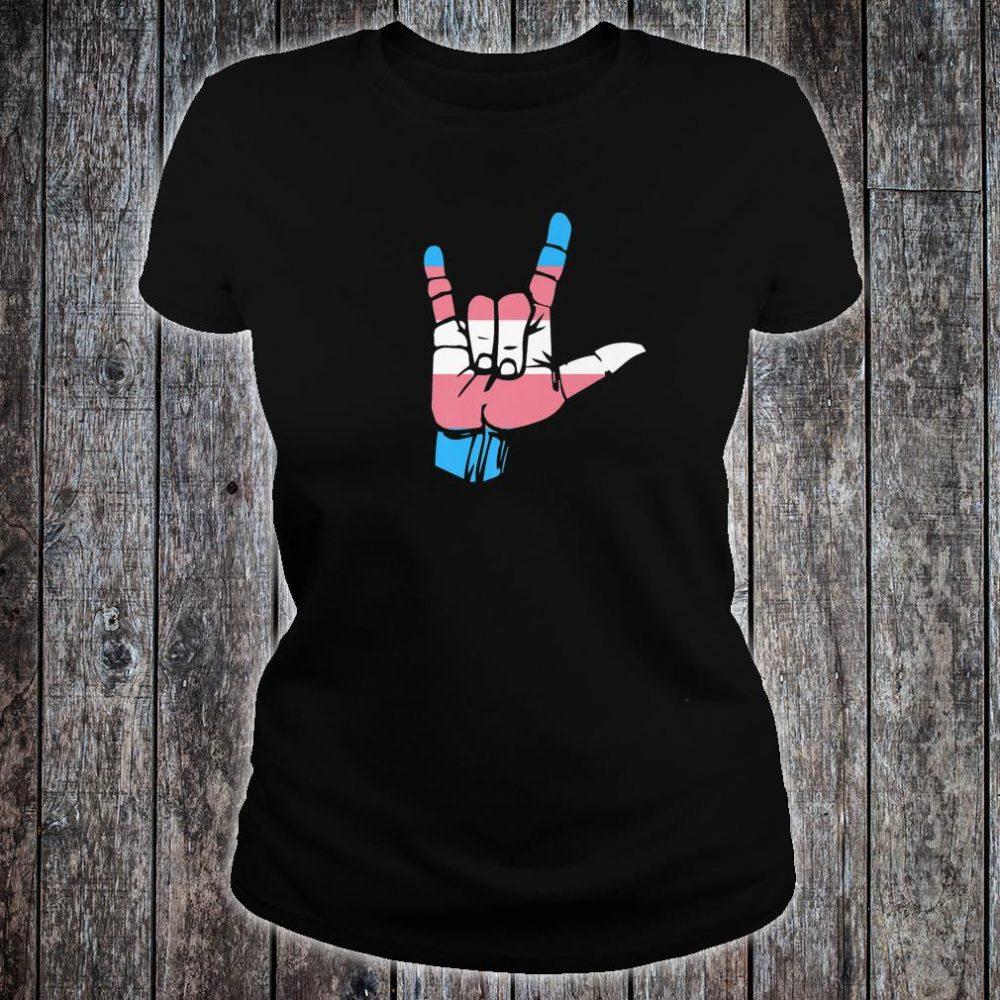 Transgender Pride Flag and Love Sign, ASL Pride Shirt ladies tee