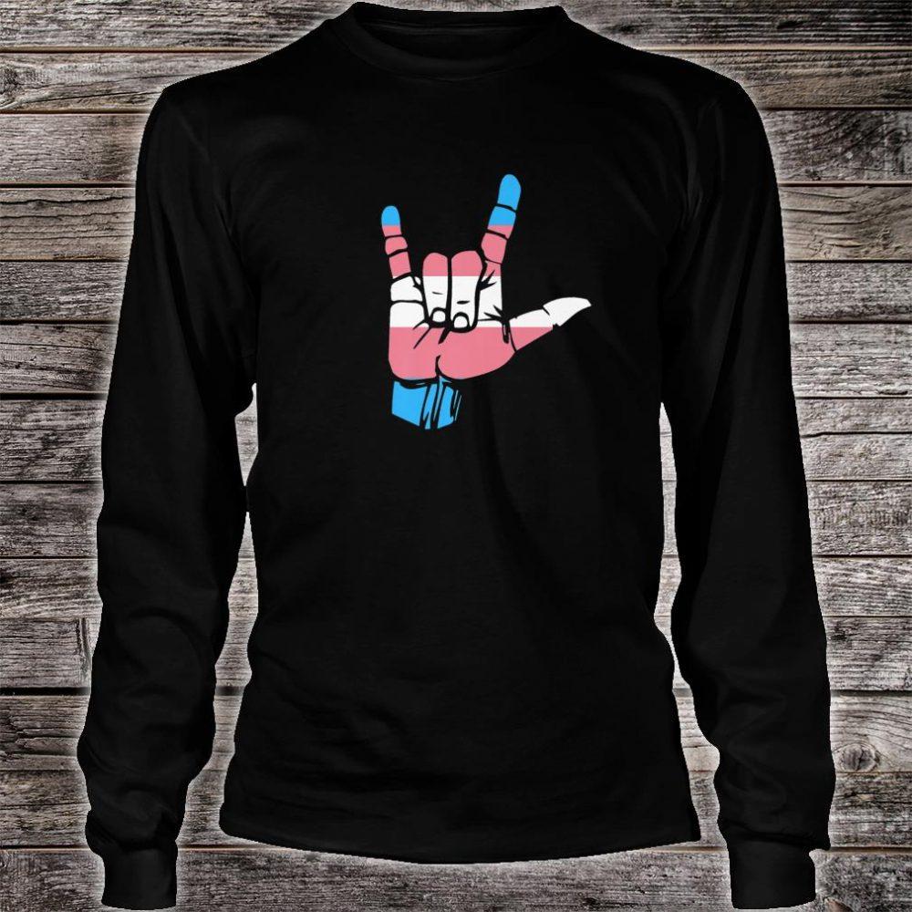 Transgender Pride Flag and Love Sign, ASL Pride Shirt long sleeved