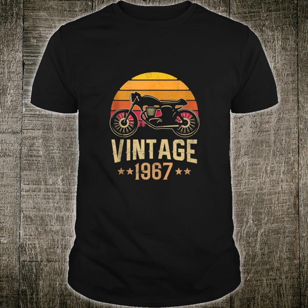 Vintage 1967 Retro Cafe Racer Motorcycle 52nd Birthday Shirt