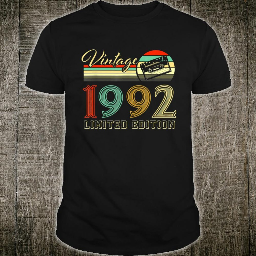 Vintage 1992 28 Years Old Birthday Classic Retro Cassette Shirt