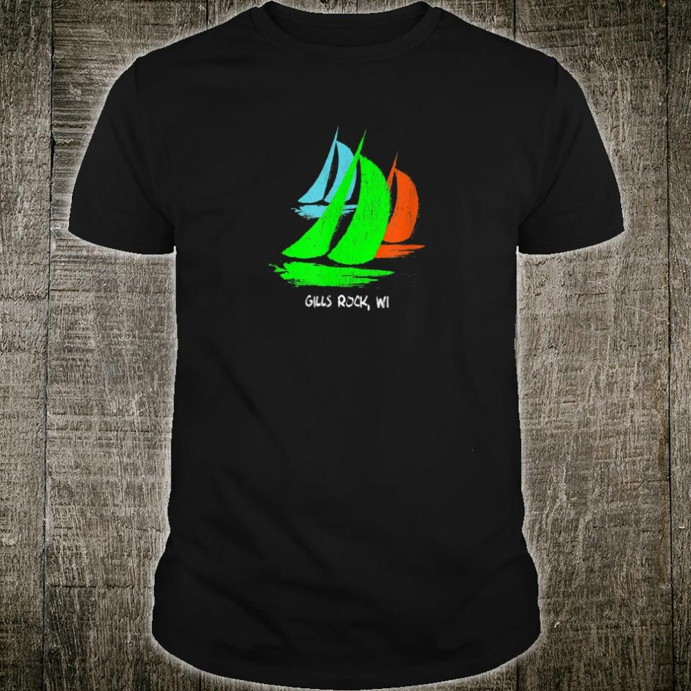 Vintage 80's 90's Style Gills Rock, WI Sailing Shirt