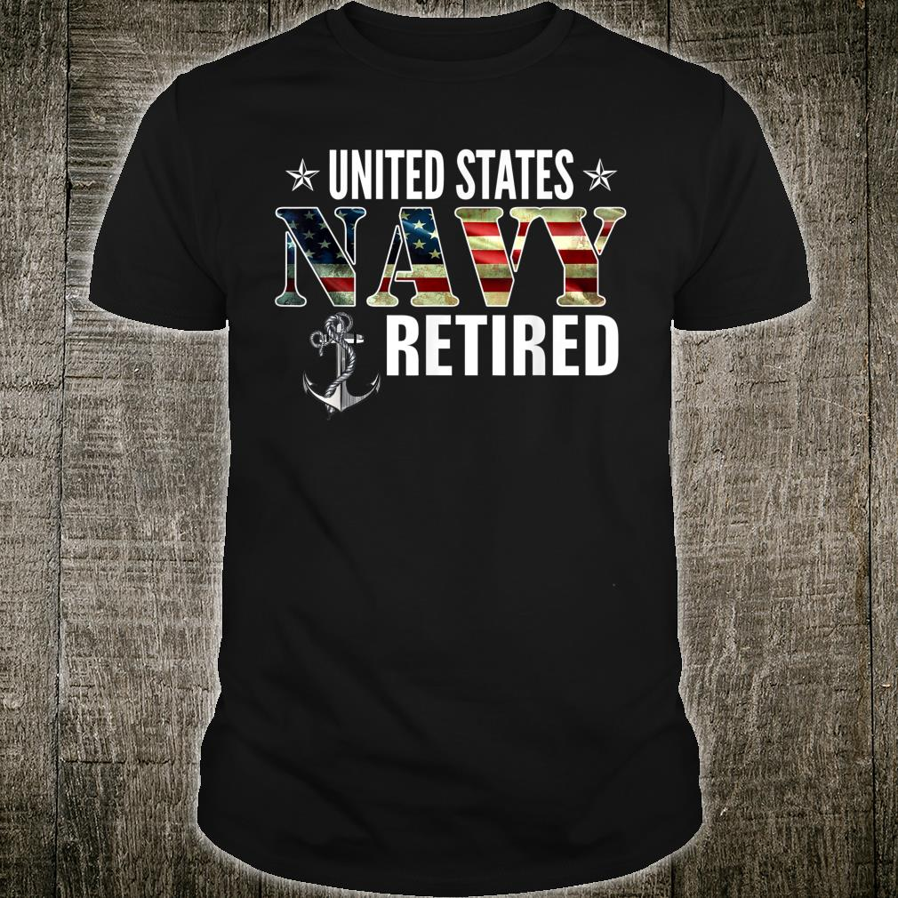 Vintage United States Navy Retired American Flag Cool Shirt