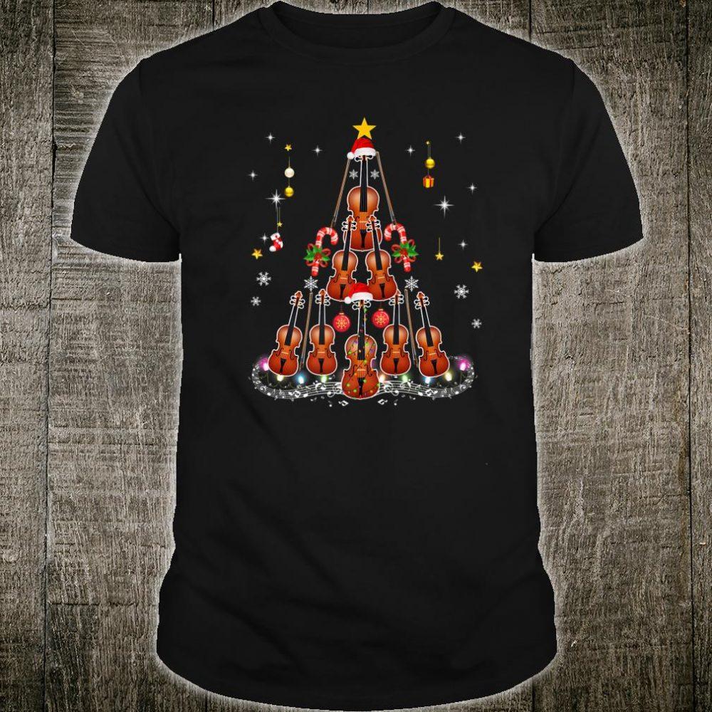 Violin Instrument Santa Hat Christmas Lights Xmas Shirt