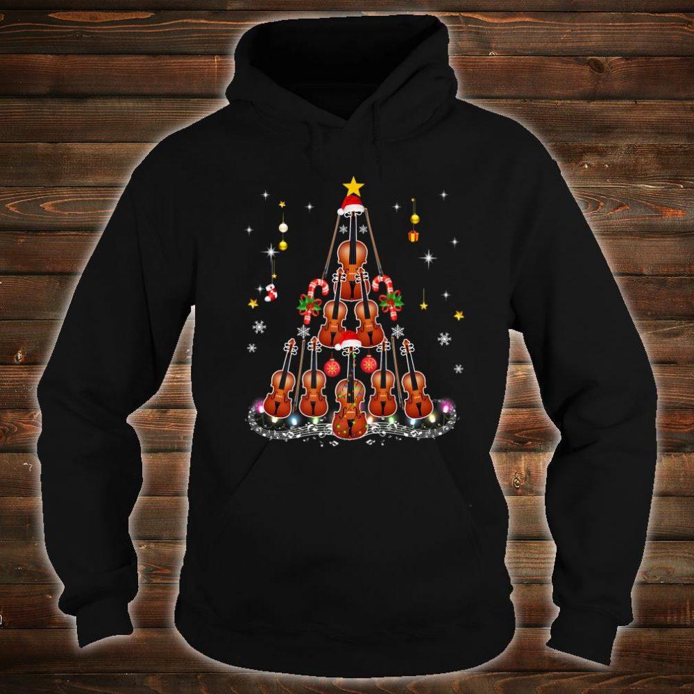 Violin Instrument Santa Hat Christmas Lights Xmas Shirt hoodie