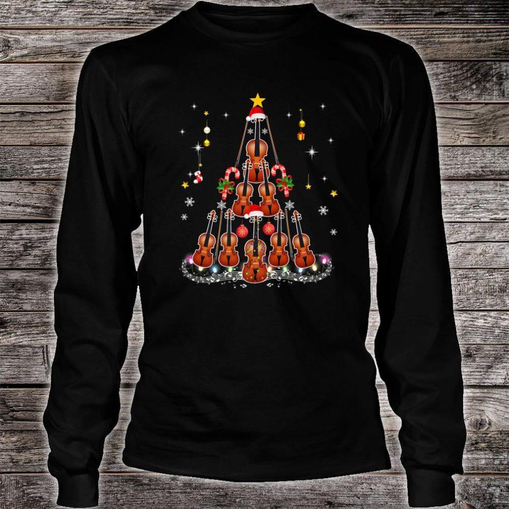 Violin Instrument Santa Hat Christmas Lights Xmas Shirt long sleeved