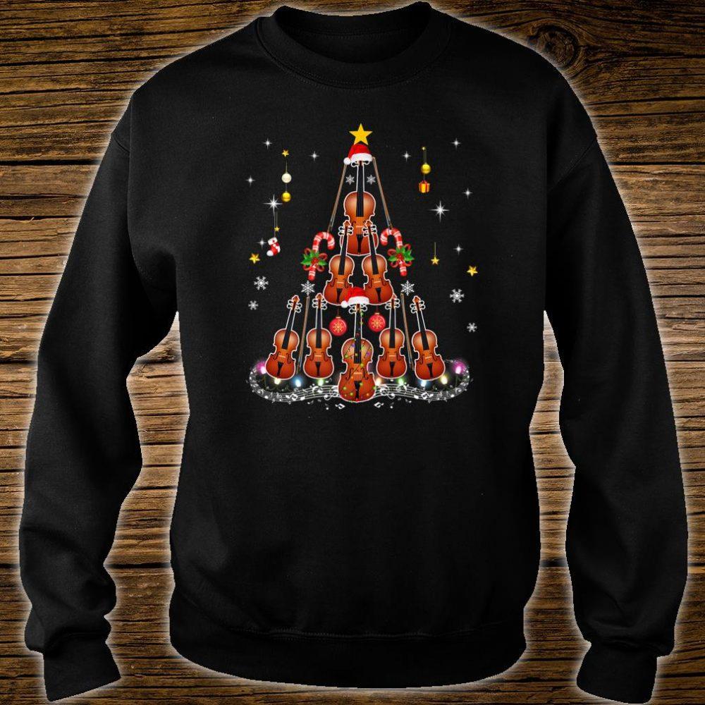 Violin Instrument Santa Hat Christmas Lights Xmas Shirt sweater