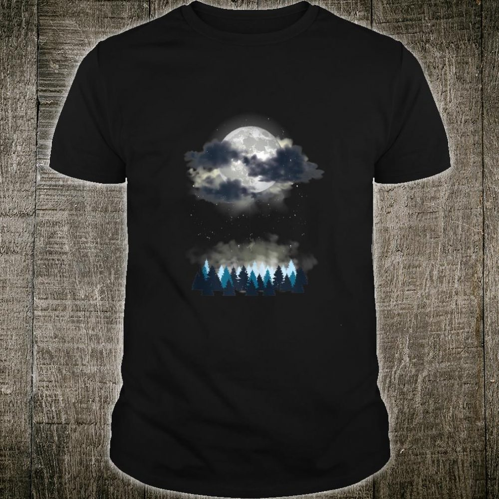 Wanderlust Scene Shirt with Night Sky and Forest Shirt