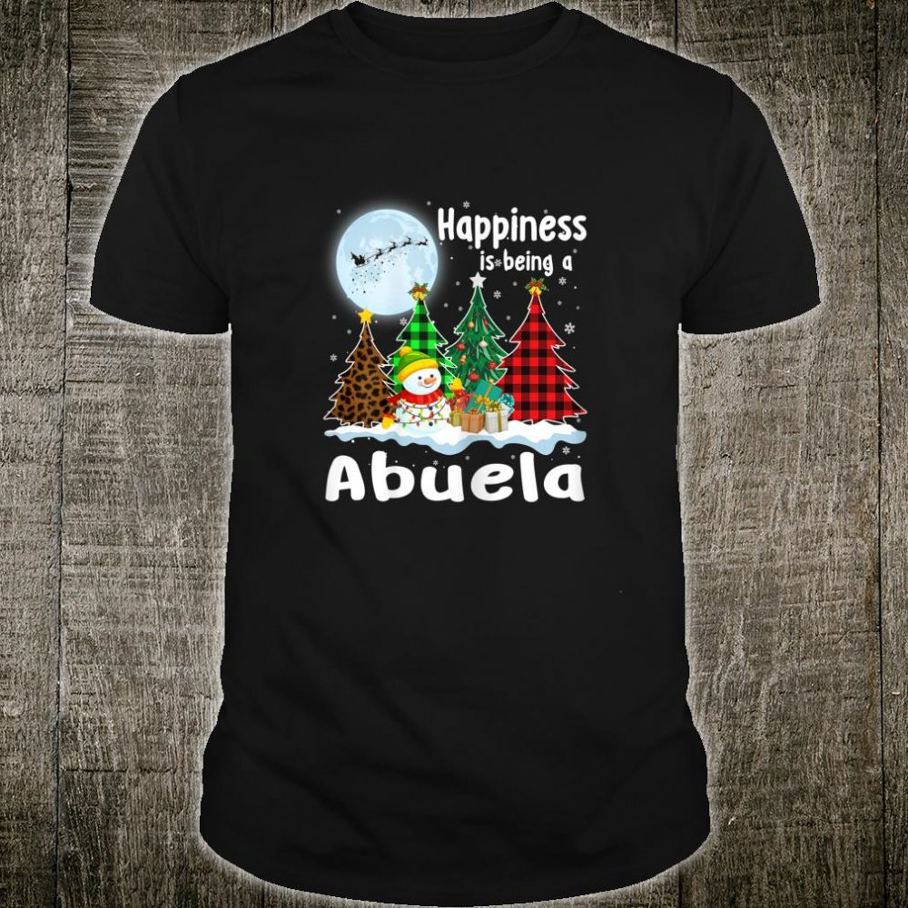 Womens Happiness Is Being A Abuela Christmas Tree Leopard Plaid Shirt