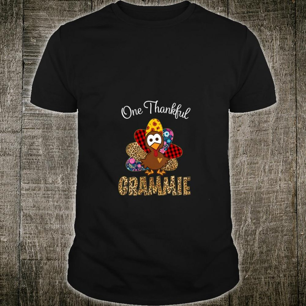 Womens One Thankful Grammie Turkey Thanksgiving Grandma Shirt