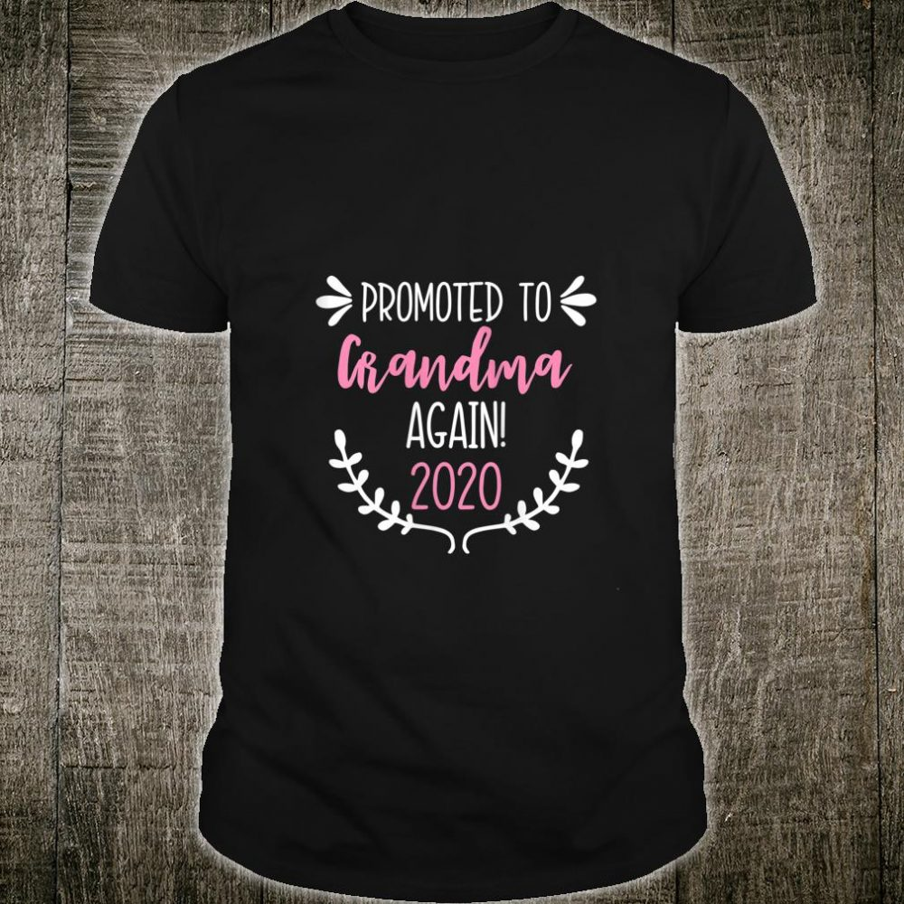 Womens Promoted to Grandma Again 2020 Pregnancy Announcement Baby Shirt