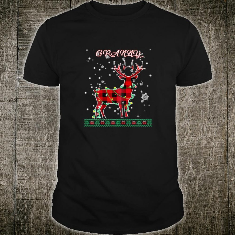 Womens Red Plaid Granny Reindeer Deer Buffalo Christmas Pajama Shirt