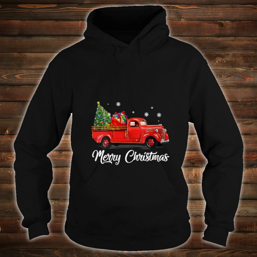 Womens Retro Red truck with Merry Christmas Tree Vintage Christmas Shirt hoodie