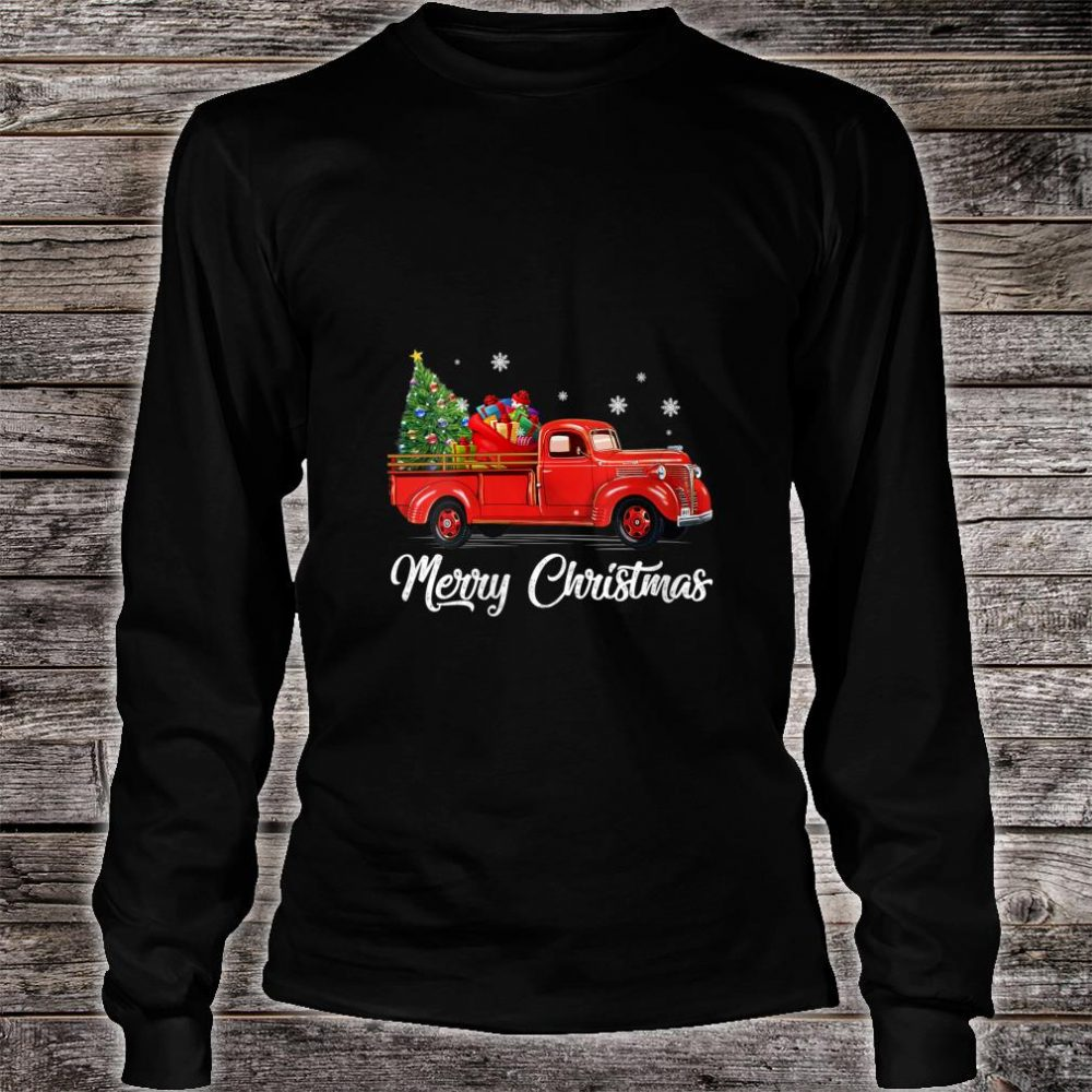 Womens Retro Red truck with Merry Christmas Tree Vintage Christmas Shirt long sleeved